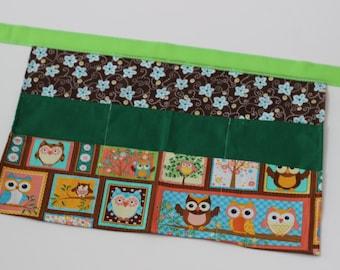 Classroom Apron-  Owls (green & brown)