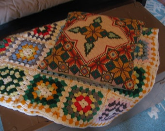 Colorful Crocheted Afghan and Cross Stitched Pillow