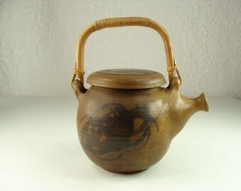 "1970s marked "" Hoskins"" Studio Pottery Teapot"