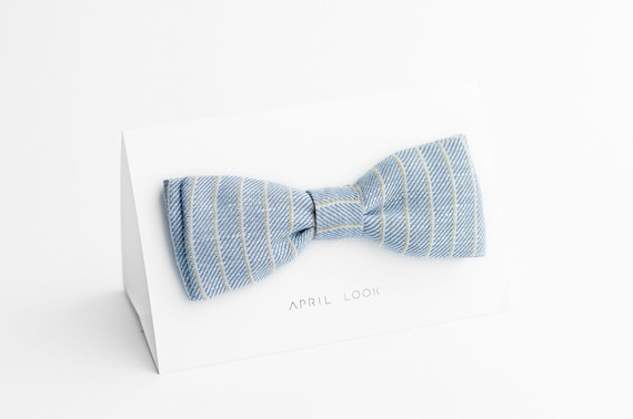 Light blue wedding bow tie - double sided, MADE TO ORDER