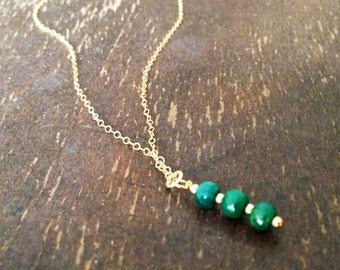 Emerald Necklace - May Birthstone - Green Jewellery - Gold Jewelry - Gemstone - Chain - Pendant