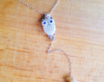Owl Necklace - Pearl Pendant - Sterling Silver Jewelry - Charm - Simple - Everyday Jewellery