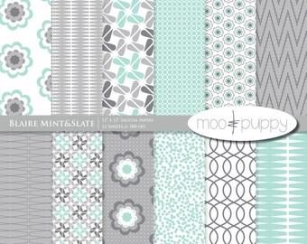 SALE: (50 for 50) Digital Scrapbooking Paper Pack  --  Blaire Mint&Slate -  INSTANT DOWNLOAD