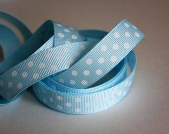 "5/8"" Grosgrain Dotted Ribbon Lt Blue - 25 yd Spool - Grosgrain Ribbon"