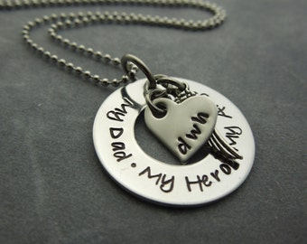 My dad, My hero, My angel hand stamped stainless steel memorial necklace