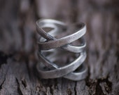 Wide Wrap Ring-Sterling Silver Wrap Ring-Silver Wraparound Ring-Silver Wide Ring