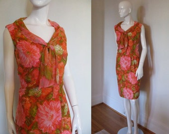 Vintage 1960's Gale Mitchell Tropical Colored Floral 2pc Set Dress with Top Blouse