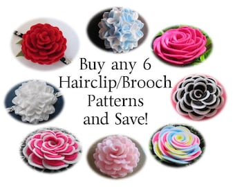 Felt Flower Patterns - Buy ANY 6 Felt Brooch Flower Patterns Hairclip Flower Patterns Headband Flower Patterns and SAVE