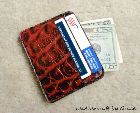 100% hand stitched handmade alligator embossed cowhide leather ID card / cash pouch / case