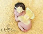 Newborn butterfly wings baby girls yellow set headband included fabric flowers pearl centers