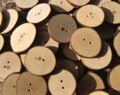 Handmade Beech Wood Buttons. 1 inch 25 mm x 12
