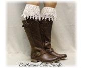 DIVINE ELEGANCE in Ivory Lace boot socks womens boot socks boot socks tall boot socks knee socks tall lace socks Catherine Cole Studio BKS3