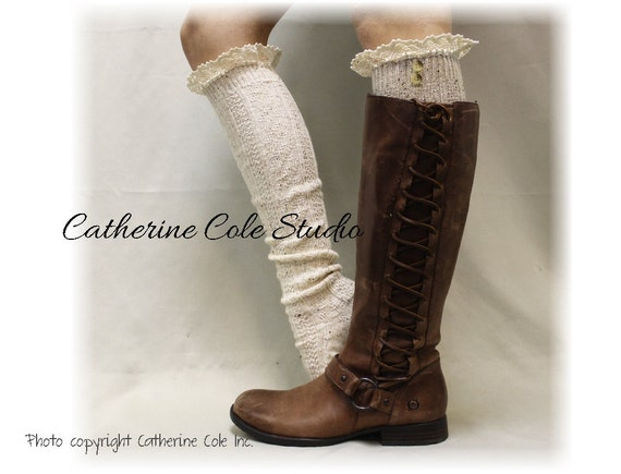 Lace boot socks, tall knee socks, leg warmers,handmade knit boot socks, womens socks NORDIC WOODS Natural fleck Catherine Cole Studio BKS2BL