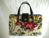 SALE 25% OFF*** Vintage Wool Floral Tapestry Bag with Leather Trim by Jana