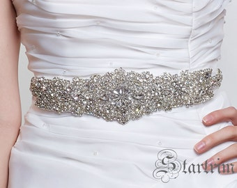 SALE Stella Wedding Belt, Bridal Belt, Sash Belt, Crystal Rhinestones belt