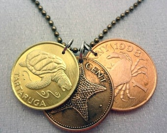 Coin necklace - Cute trio of marine coins - crab - starfish - turtle - three coins on chain - brass and copper coins