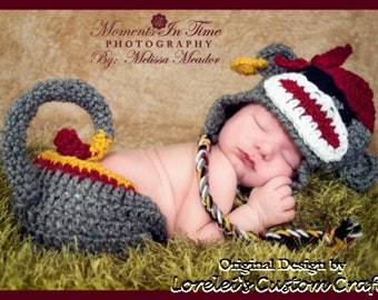 Pirate sock monkey hat and diaper cover set. Available in multiple sizes, made to order