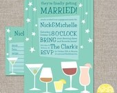 engagement party invitation and drink recipe card - DIY printable file by YellowBrickStudio