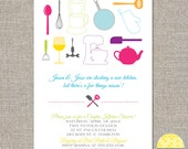 kitchen couples bridal shower invitation and recipe card -  DIY printable file by YellowBrickStudio