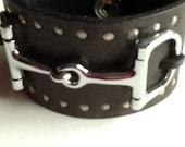 Vintage  Leather Belt Embellished Horse Bit Cuff Bracelet  SALE free shipping