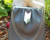 Vintage LEATHER Purse 1950's Style, Grey Leather, Silver chain and detail