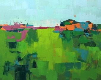"""Field 957"""" Original oil landscape on canvas 31.5"""" x 24""""(80cm x 60.5cm)"""