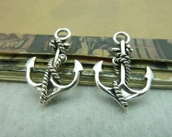 20pcs 18x28mm The Anchor Silver White Color Charm For Jewelry Pendant C6279