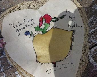 Hand Made Vintage Valentine WWII Memorabilia Silk Card Valentine Card