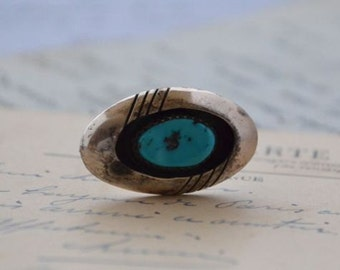 Sterling and Turquoise Navajo Shadowbox Brooch