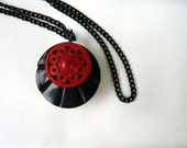 Pendant necklace, two sided, Asian style red and black button necklace, purple and brown pendant