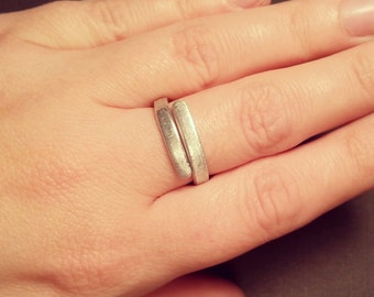 Brushed Silver Wrap Ring - Silver Aluminum Band - Brushed Thin Stacking Ring - Silver Stacking Ring - Brushed Aluminum Finish