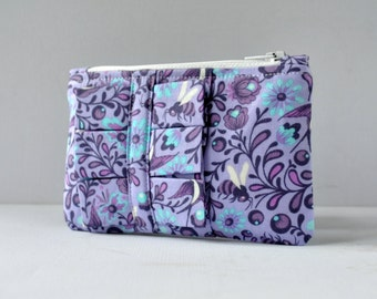 Ruffle change pouch coin purse womans wallet Fantasy birds,bees and floral print in deep purple,indigo blue,white with ruffle.
