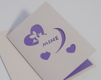 Conversation Heart Valentine Card - Bee Mine Cut Paper Card