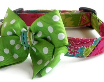 Pink and Green Patchwork Dog Collar size Medium