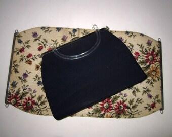 Handbag Rare 1940's Converts Three Ways w/Cover Tapestry-Black Vinyl-Canvas