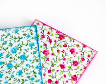 Shabby Chic Coasters, Wood Wooden Colorful Square Coasters Green, Pink and Blue Flowers