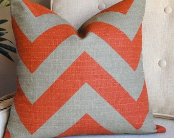 Ready to ship-Designer Pillow Cover-18x18-Chevron Pillow-Throw Pillow-BOTH SIDES-Rust-Gray