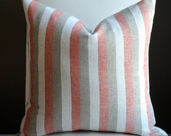 Designer Pillow-20x20 -Designer Pillow- Oswego-Stripe-Red-Beige-Cream