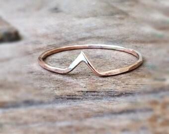 Hammered Chevron Ring, 14k Gold filled skinny stacking ring