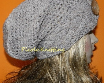Slouchy Beanie, Winter Cabled Cap, Chunky Slouchy Hat, Stylish Cap, Boho Medium Baggy Hat with Eco Button on Side, Gift under 50