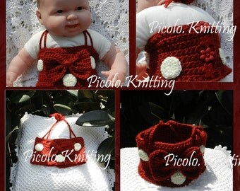 EXCLUSIVE  Line Crochet Baby Girl Disney Inspired Minnie Mouse TOP  - in Red or Pink