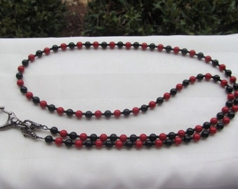 Red and Black ID Badge Bead Lanyard Swarovski Pearl Lanyard Necklace ID Badge Holder