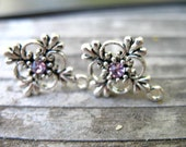 6 pairs Silver Post Earrings with Pink Crystals and Connector Loops 21mm x15mm Matching Backs