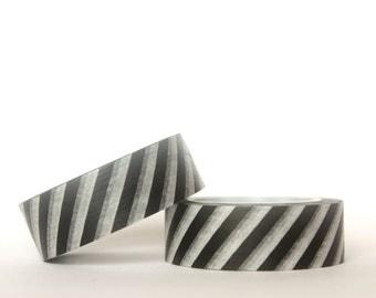 Black Diagonal Stripes Washi Tape
