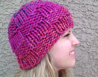 Checkerboard Beanie Bright Hot Pink Basketweave Hat Knit