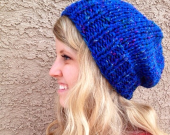 Tweed Blue Oceania Slouch Beanie for Men or Women Knit Hat