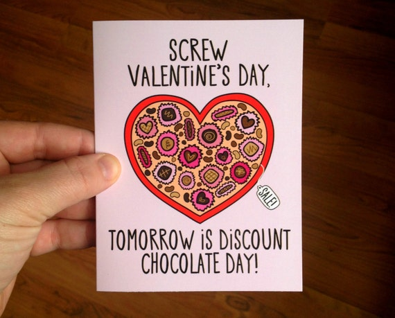 Discount Chocolate Day Anti Valentines Day Card with Envelope blank inside