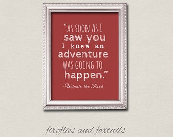 Winnie the Pooh Adventure Digital Typography Quote