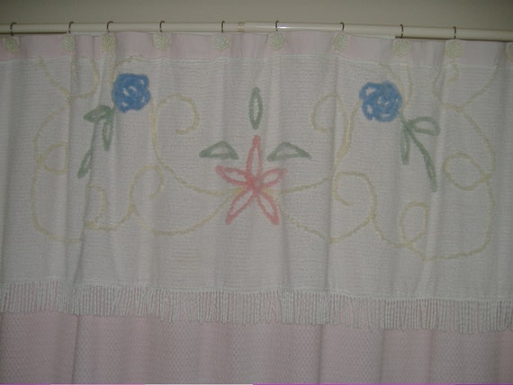 Antique shower curtains shower curtain made from a bedspread - Shabby Chic Shower Curtain With Vintage Chenille Bedspread