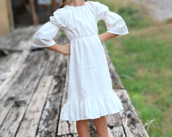 White or Cream Peasant Style Dress with Bell Sleeve